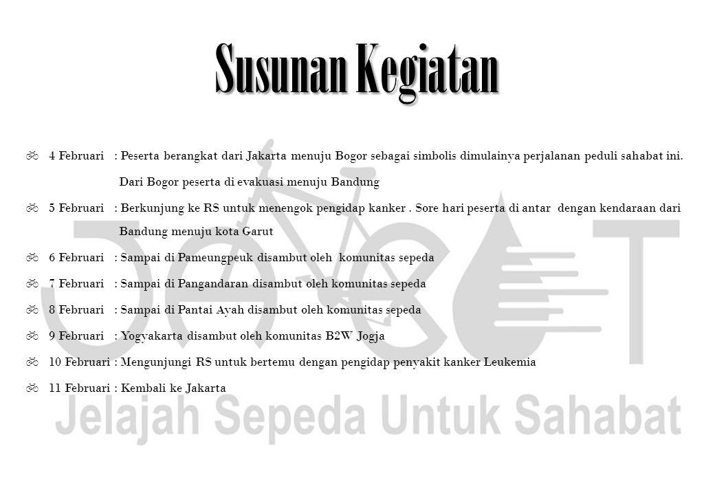 Susunan Kegiatan 4 Februari : Peserta berangkat dari Jakarta menuju Bogor sebagai simbolis dimulainya perjalanan peduli sahabat ini.
