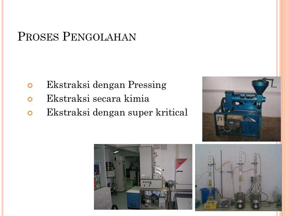 Proses Pengolahan Ekstraksi dengan Pressing Ekstraksi secara kimia