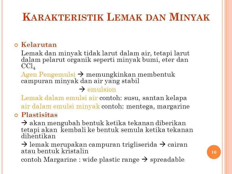 Karakteristik Lemak dan Minyak