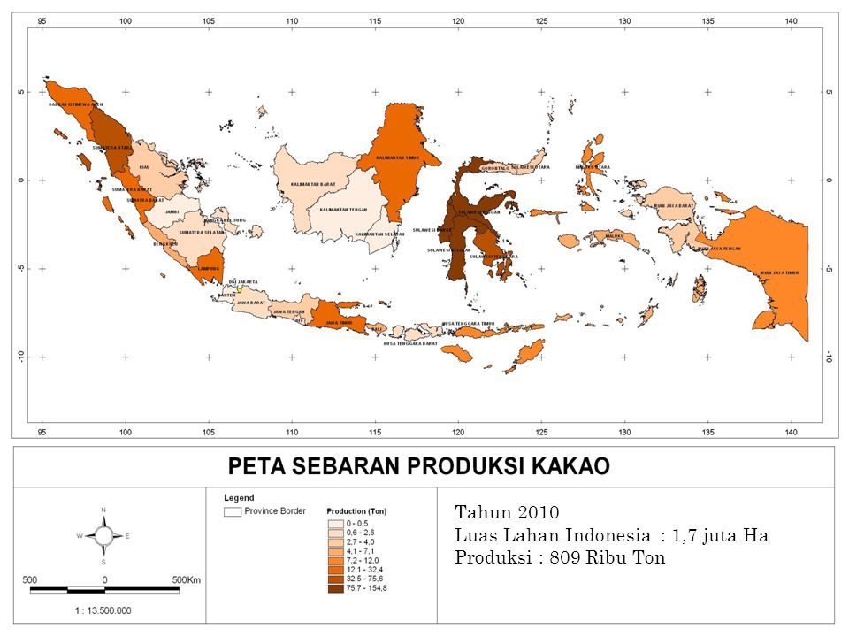 PETA PRODUKSI KAKAO Tahun 2010 Luas Lahan Indonesia : 1,7 juta Ha