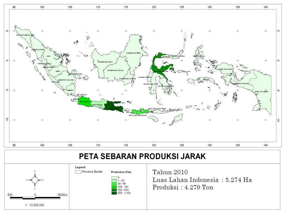 PETA PRODUKSI JARAK Tahun 2010 Luas Lahan Indonesia : 5.274 Ha