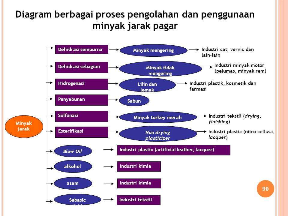Diagram berbagai proses pengolahan dan penggunaan minyak jarak pagar