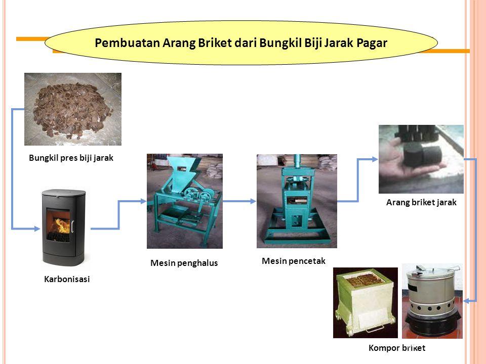 Pembuatan Arang Briket dari Bungkil Biji Jarak Pagar