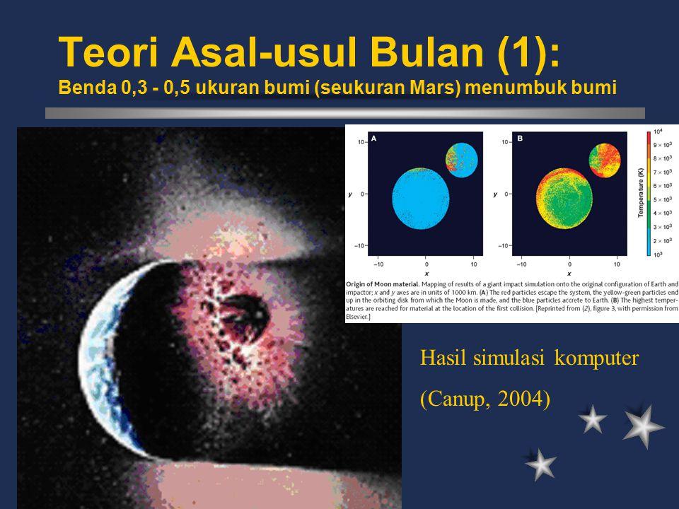 Teori Asal-usul Bulan (1): Benda 0,3 - 0,5 ukuran bumi (seukuran Mars) menumbuk bumi
