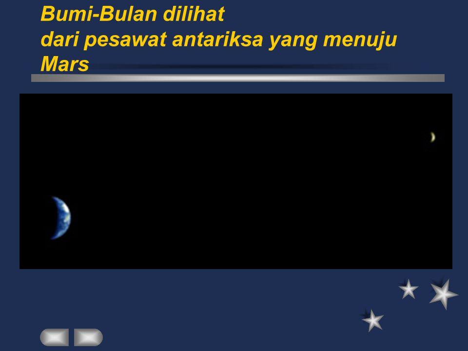 Bumi-Bulan dilihat dari pesawat antariksa yang menuju Mars
