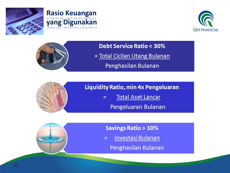 Debt Service Ratio < 30% Liquidity Ratio, min 4x Pengeluaran