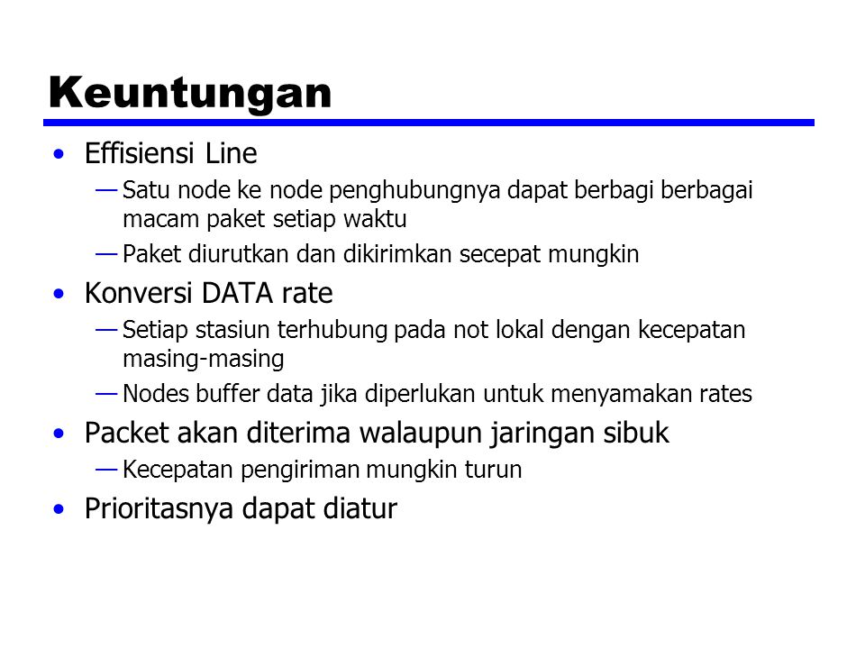 Keuntungan Effisiensi Line Konversi DATA rate