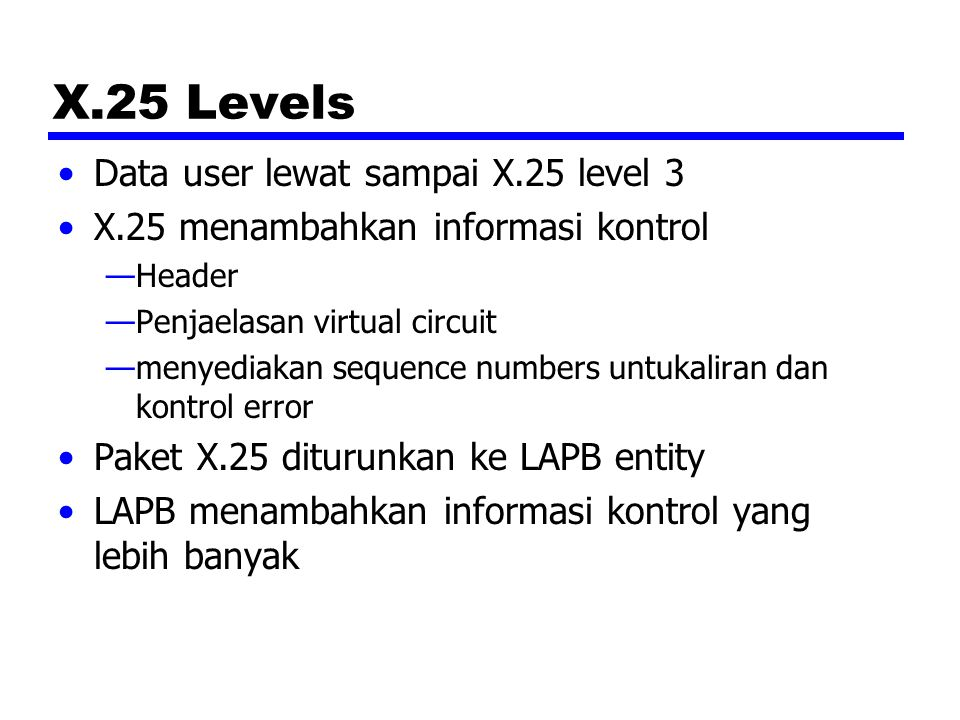 X.25 Levels Data user lewat sampai X.25 level 3