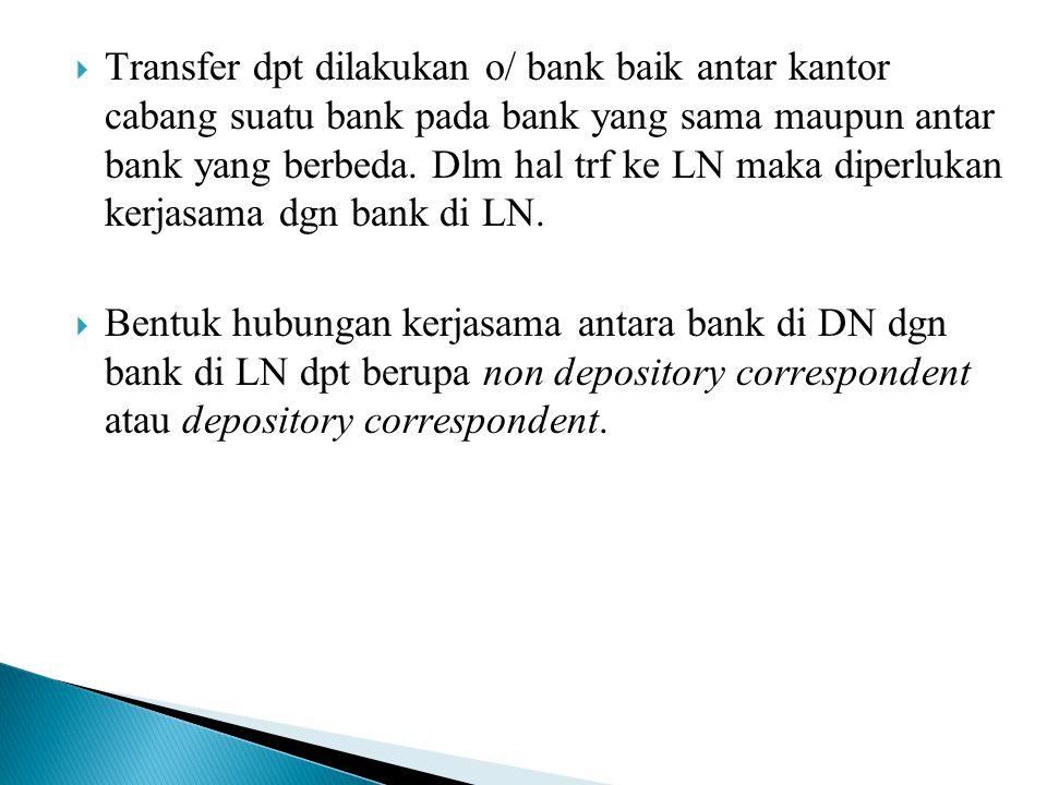 Transfer dpt dilakukan o/ bank baik antar kantor cabang suatu bank pada bank yang sama maupun antar bank yang berbeda. Dlm hal trf ke LN maka diperlukan kerjasama dgn bank di LN.