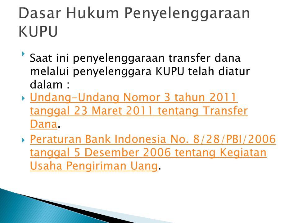 Saat ini penyelenggaraan transfer dana melalui penyelenggara KUPU telah diatur dalam :