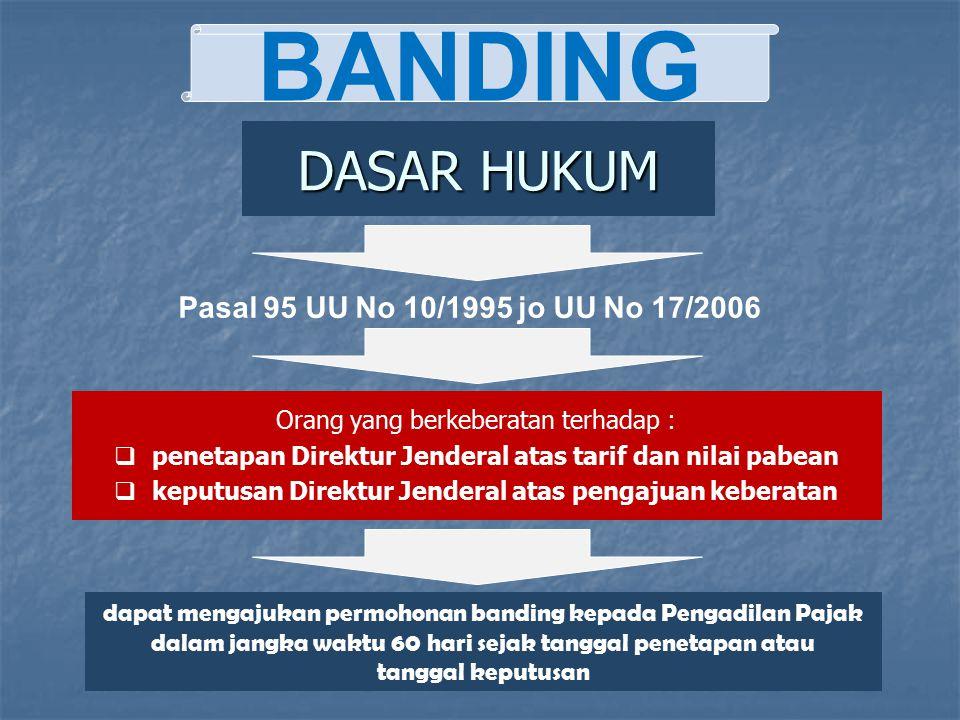 BANDING DASAR HUKUM Pasal 95 UU No 10/1995 jo UU No 17/2006