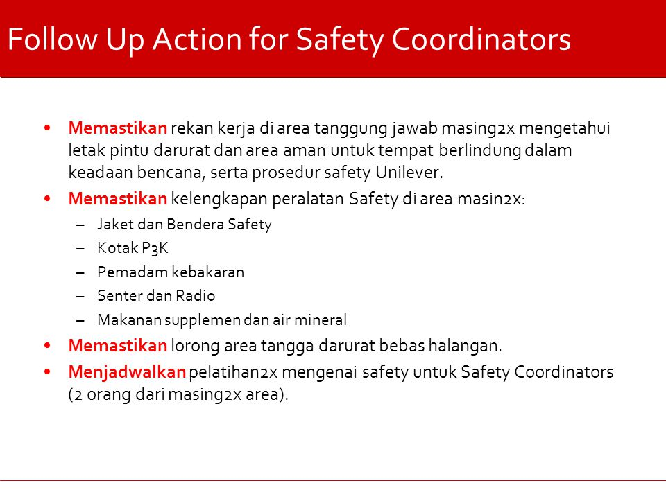 Follow Up Action for Safety Coordinators