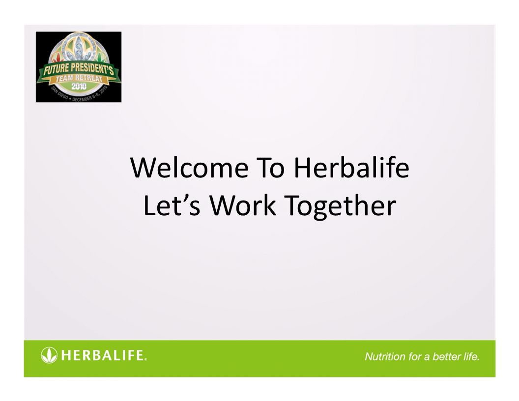 Welcome To Herbalife Let's Work Together