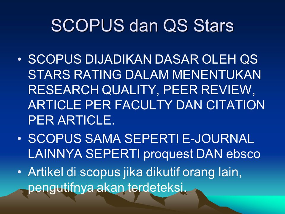 SCOPUS dan QS Stars