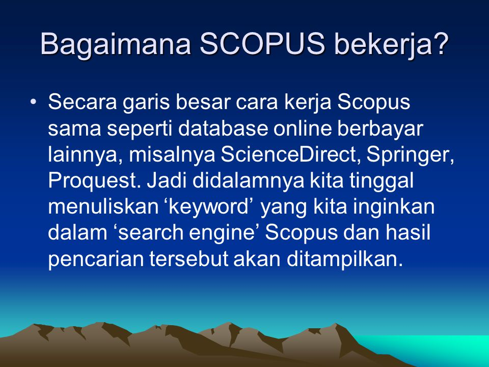 Bagaimana SCOPUS bekerja