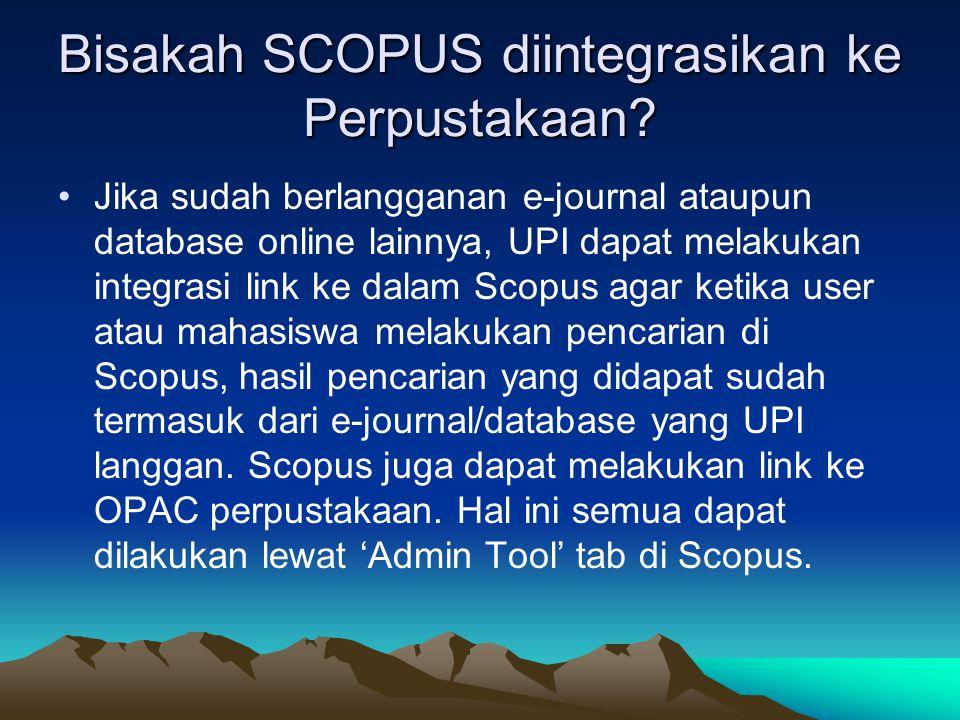 Bisakah SCOPUS diintegrasikan ke Perpustakaan
