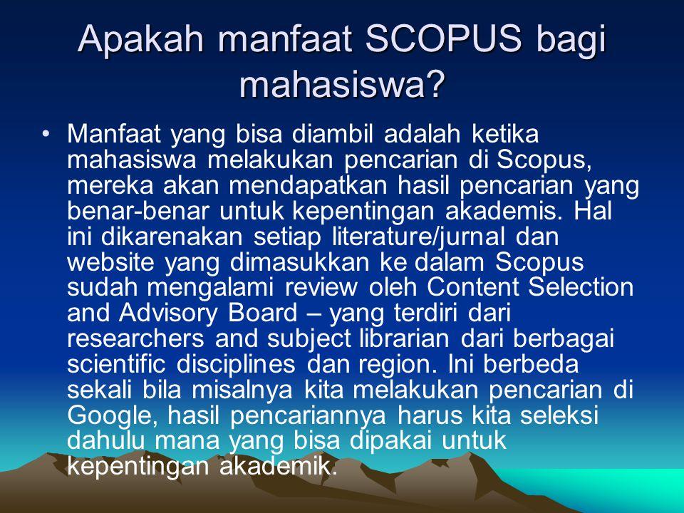 Apakah manfaat SCOPUS bagi mahasiswa