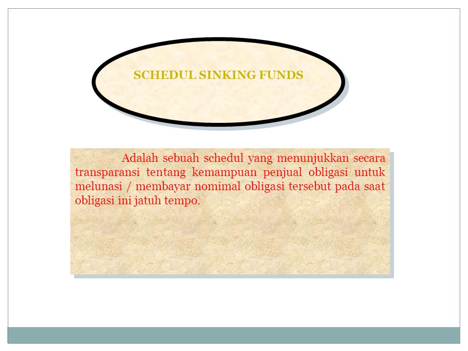 SCHEDUL SINKING FUNDS