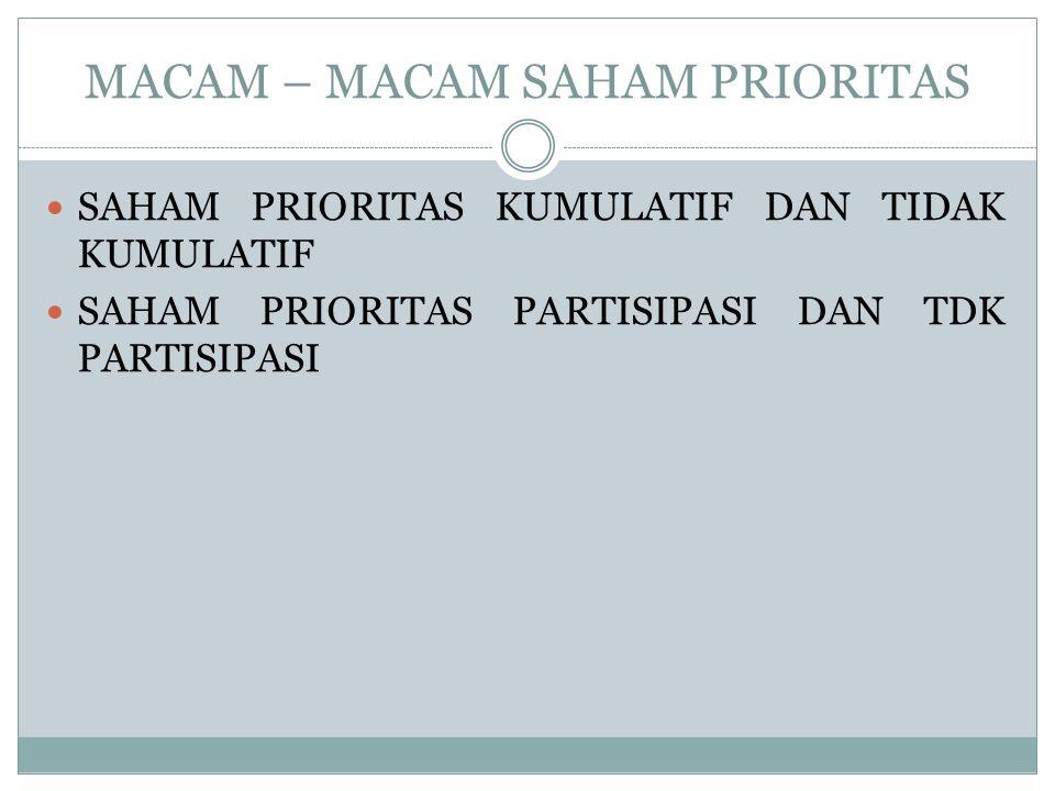 MACAM – MACAM SAHAM PRIORITAS