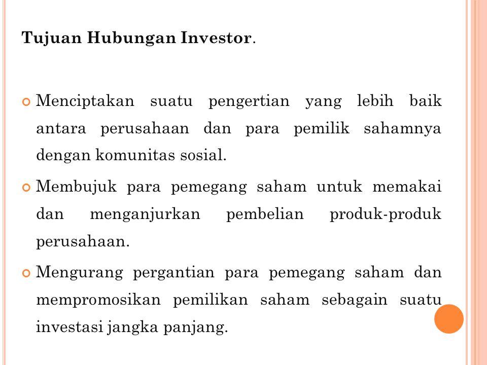 Tujuan Hubungan Investor.