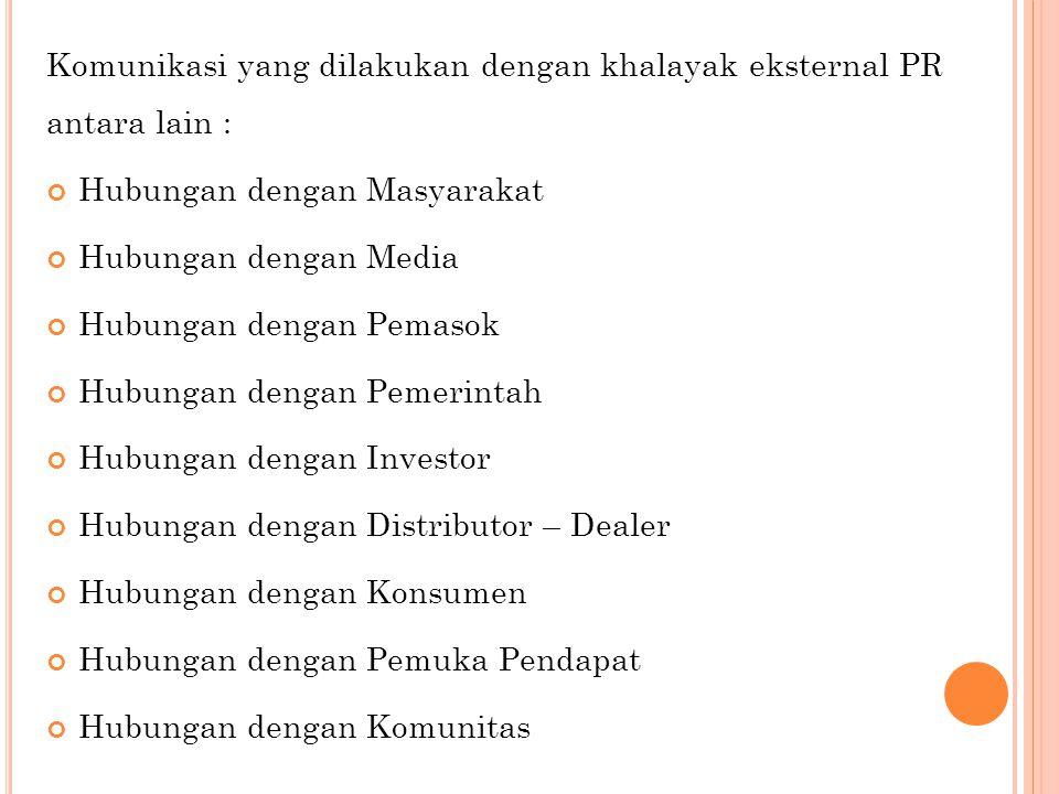 Komunikasi yang dilakukan dengan khalayak eksternal PR antara lain :