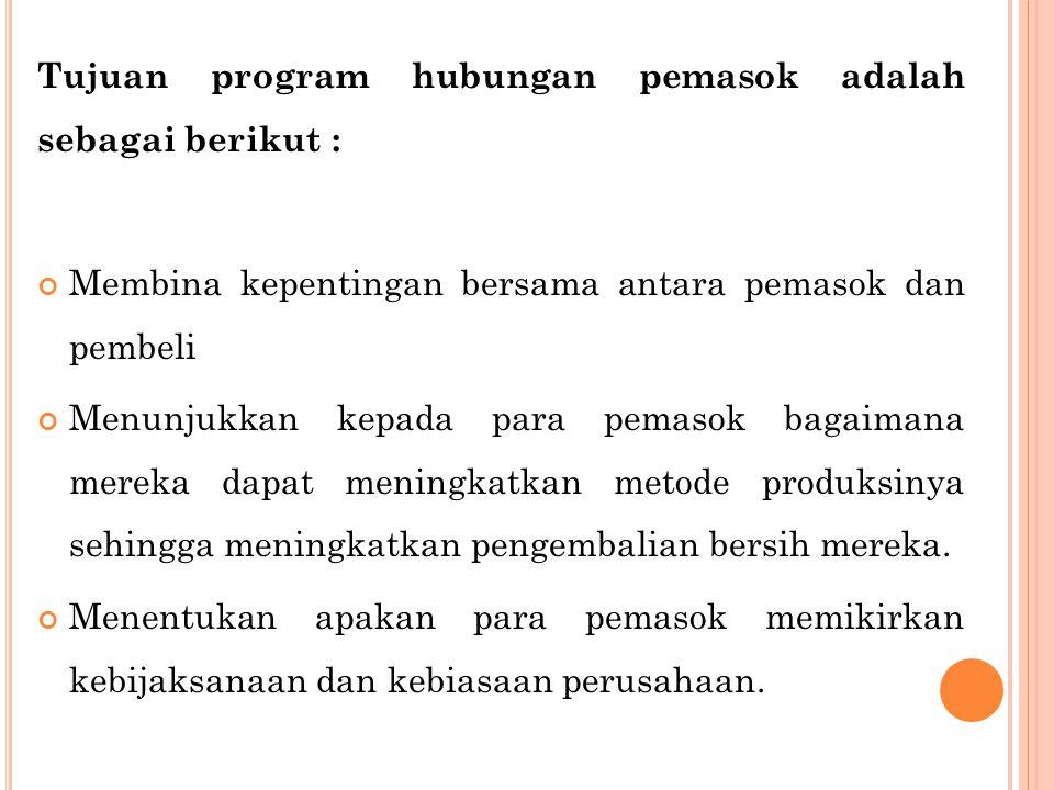 Tujuan program hubungan pemasok adalah sebagai berikut :