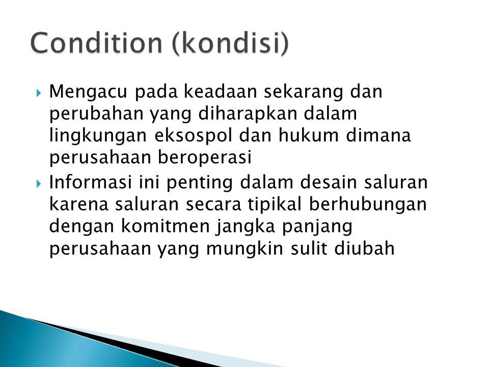 Condition (kondisi) Mengacu pada keadaan sekarang dan perubahan yang diharapkan dalam lingkungan eksospol dan hukum dimana perusahaan beroperasi.