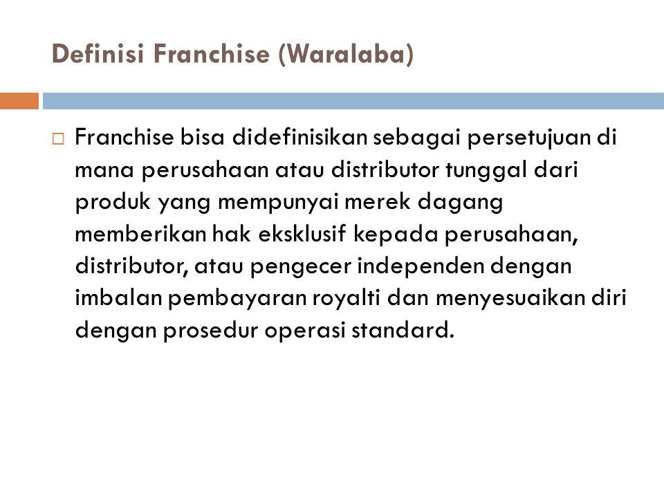 Definisi Franchise (Waralaba)