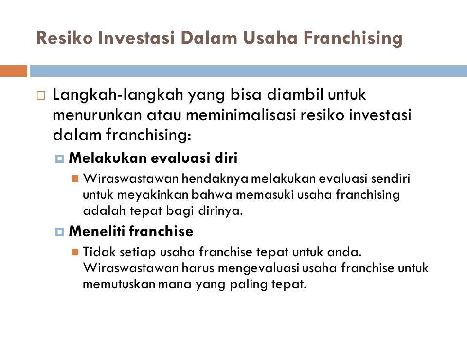Resiko Investasi Dalam Usaha Franchising