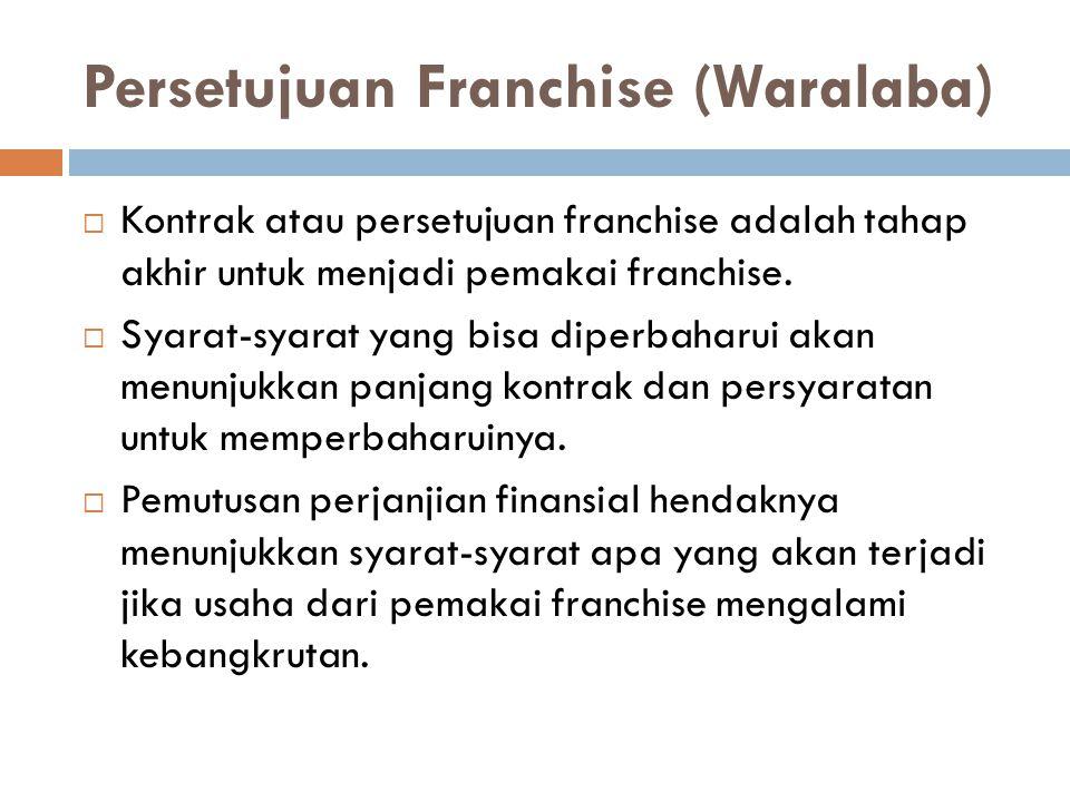 Persetujuan Franchise (Waralaba)