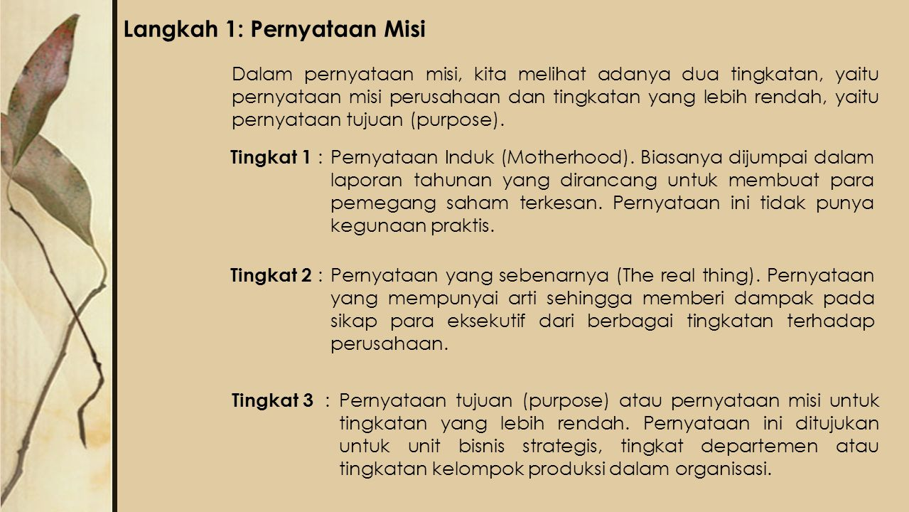 Langkah 1: Pernyataan Misi