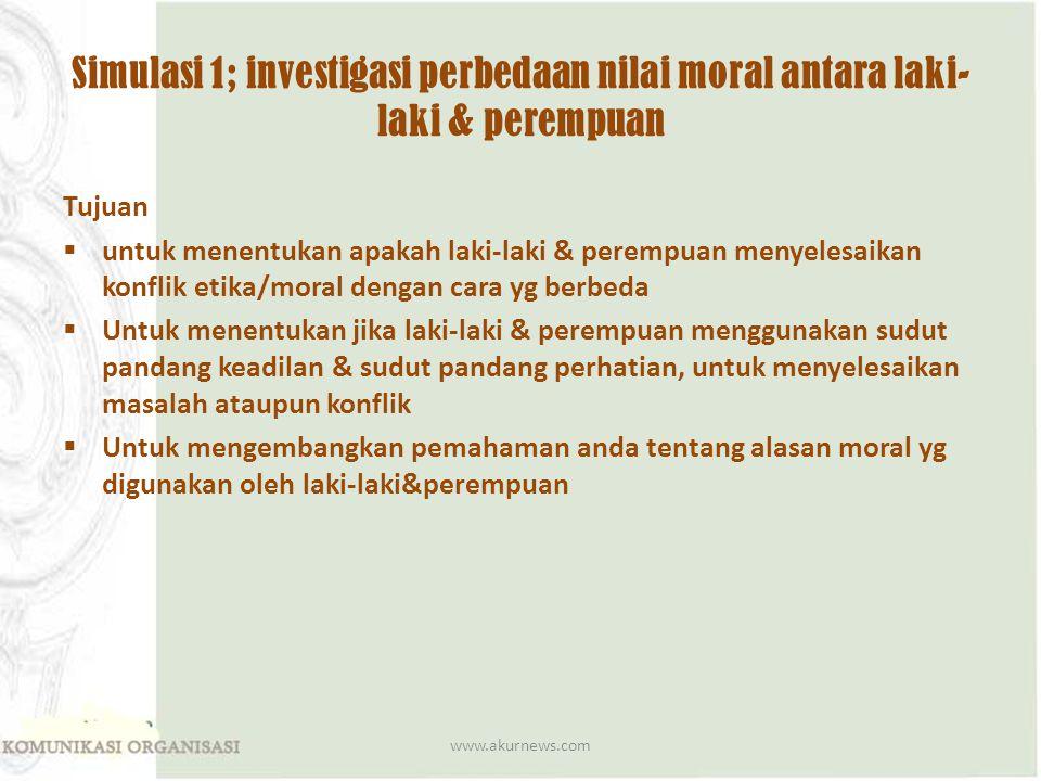 Simulasi 1; investigasi perbedaan nilai moral antara laki-laki & perempuan