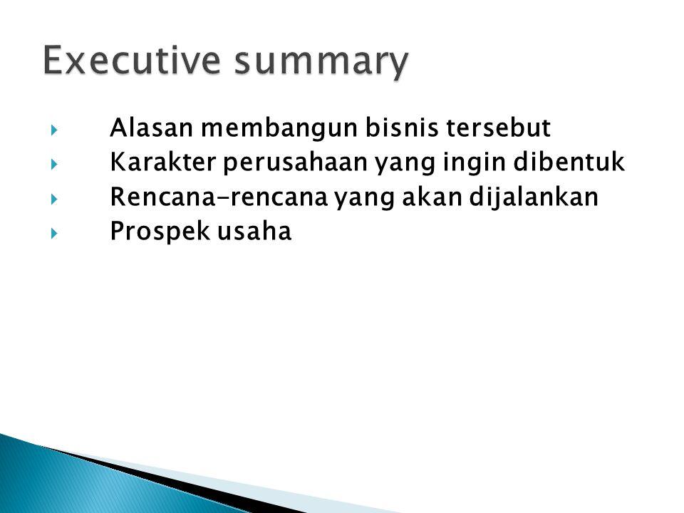 Executive summary Alasan membangun bisnis tersebut