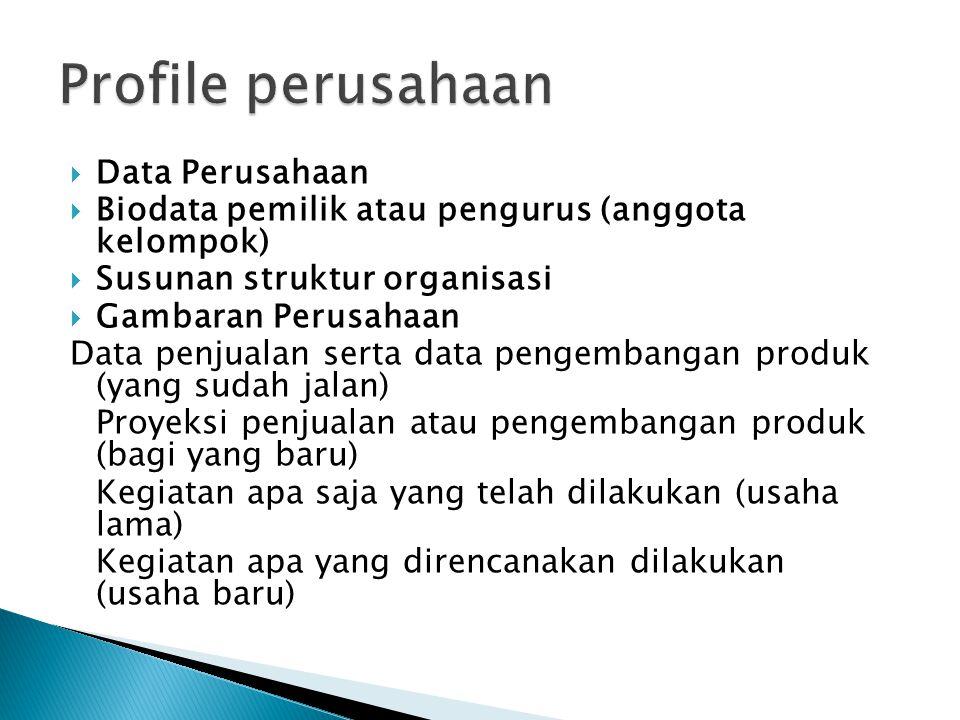 Profile perusahaan Data Perusahaan