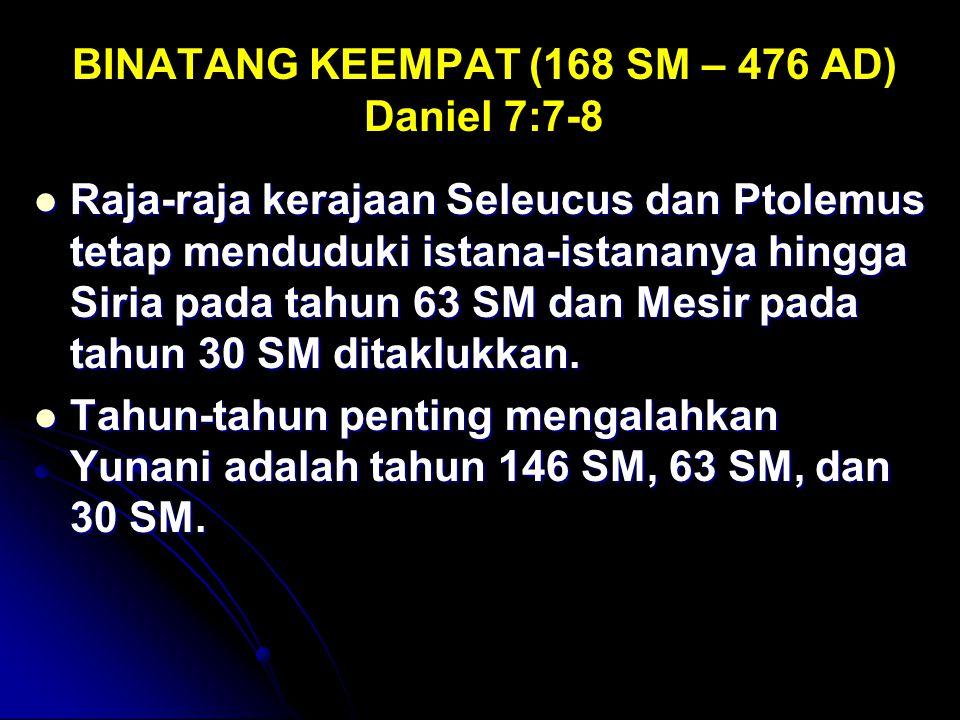 BINATANG KEEMPAT (168 SM – 476 AD) Daniel 7:7-8