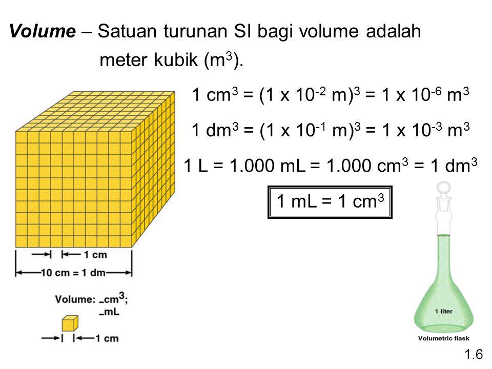 Volume – Satuan turunan SI bagi volume adalah meter kubik (m3).