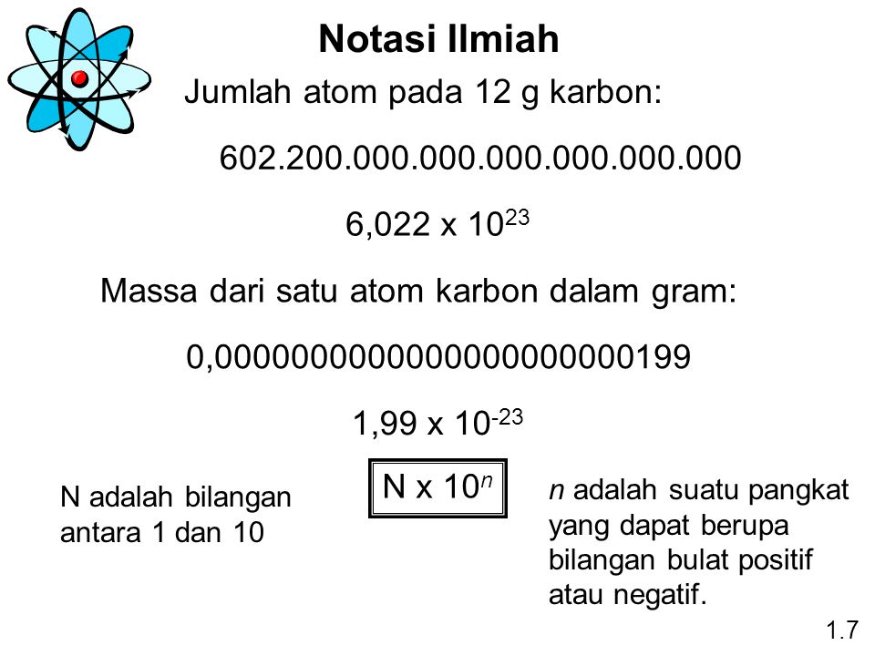 Notasi Ilmiah Jumlah atom pada 12 g karbon: