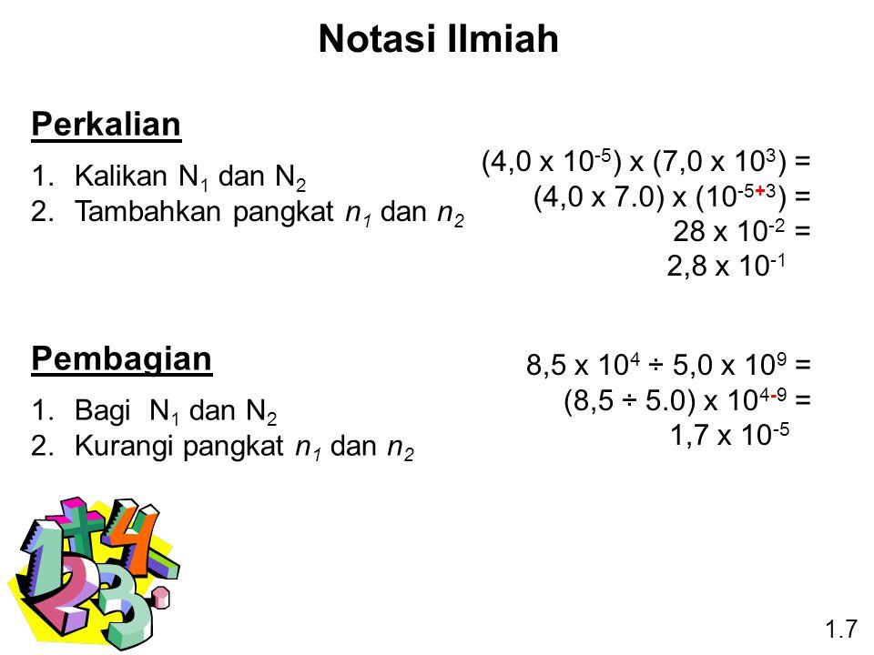 Notasi Ilmiah Perkalian Pembagian (4,0 x 10-5) x (7,0 x 103) =