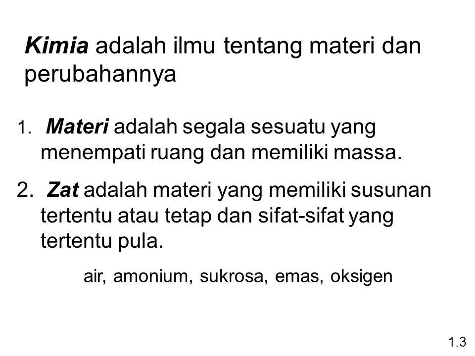 air, amonium, sukrosa, emas, oksigen