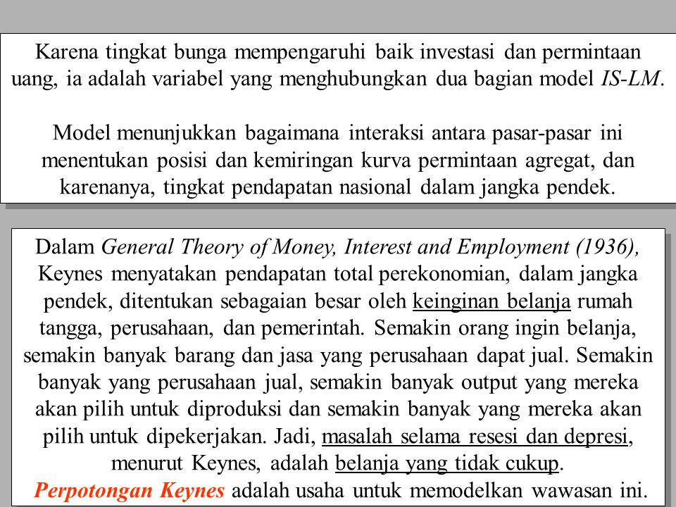 Dalam General Theory of Money, Interest and Employment (1936),