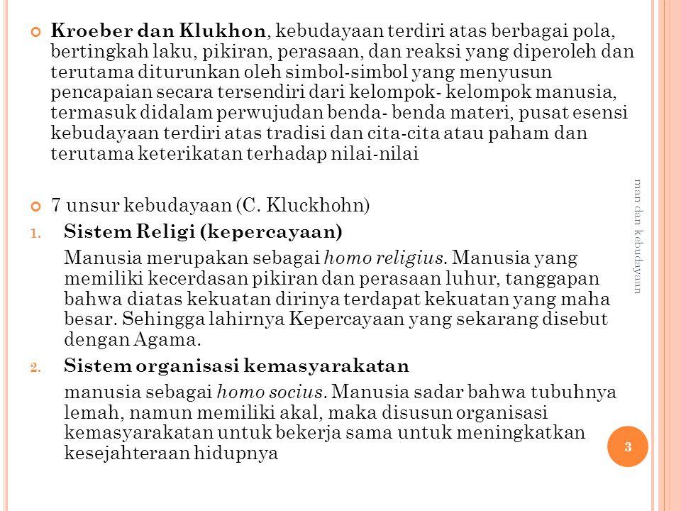 7 unsur kebudayaan (C. Kluckhohn) Sistem Religi (kepercayaan)