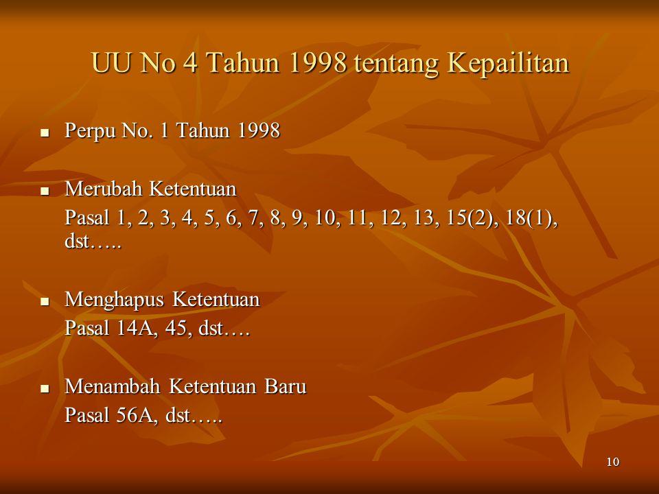UU No 4 Tahun 1998 tentang Kepailitan