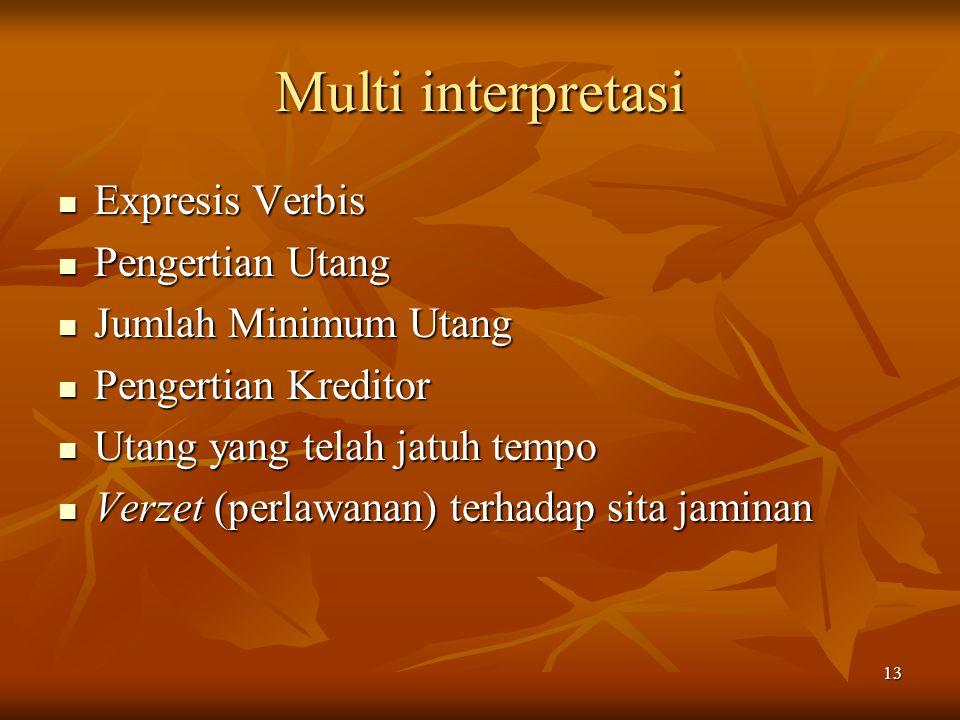 Multi interpretasi Expresis Verbis Pengertian Utang