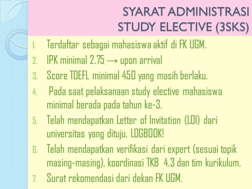 SYARAT ADMINISTRASI STUDY ELECTIVE (3SKS)