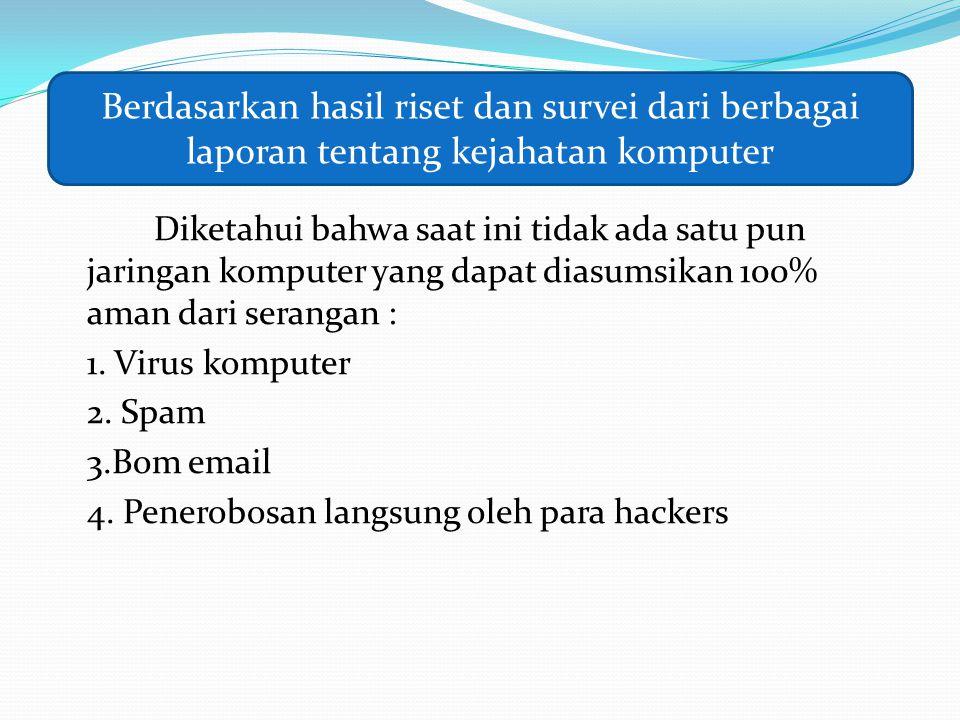 Berdasarkan hasil riset dan survei dari berbagai laporan tentang kejahatan komputer