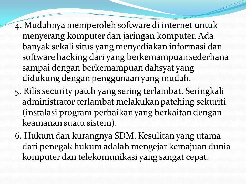 4. Mudahnya memperoleh software di internet untuk menyerang komputer dan jaringan komputer.