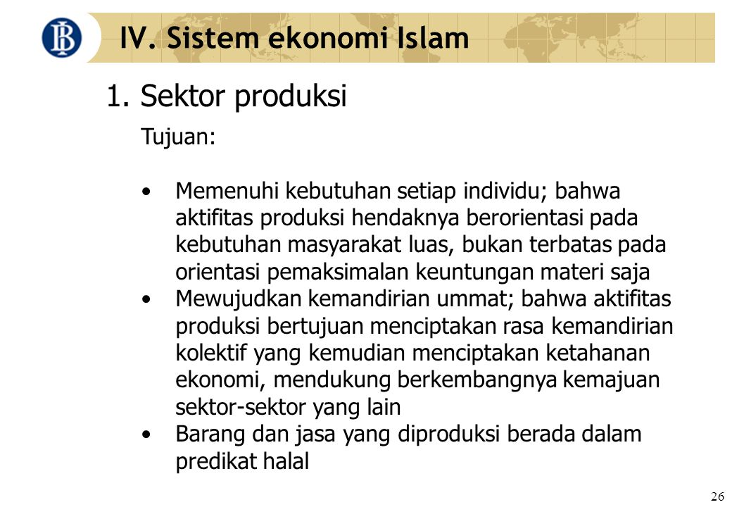 IV. Sistem ekonomi Islam