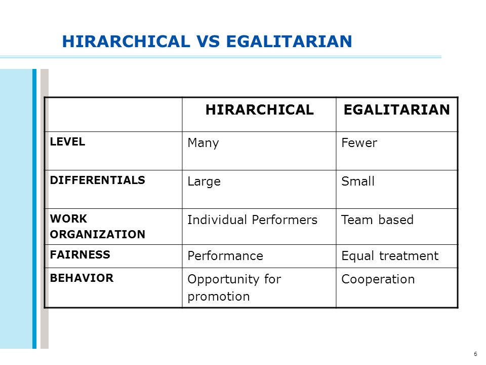 HIRARCHICAL VS EGALITARIAN