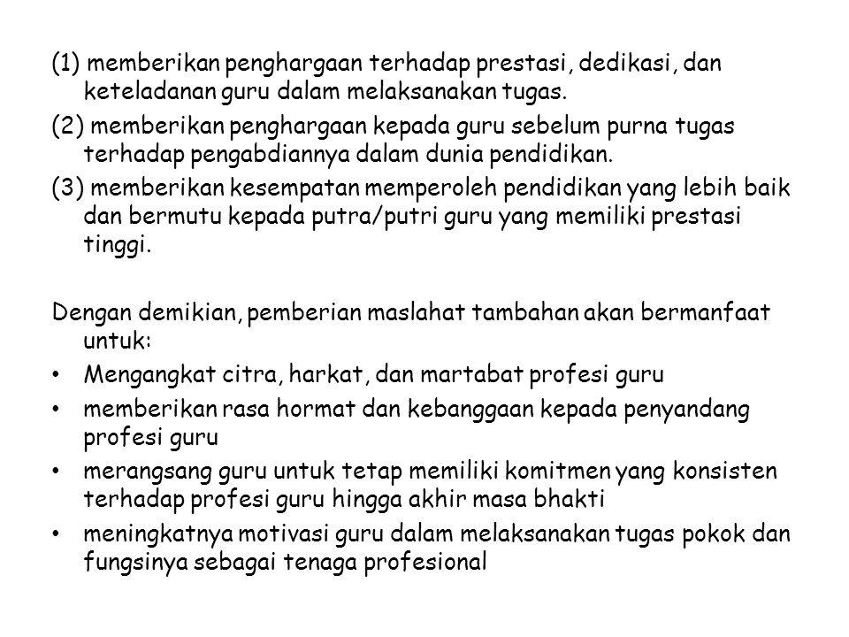 (1) memberikan penghargaan terhadap prestasi, dedikasi, dan keteladanan guru dalam melaksanakan tugas.