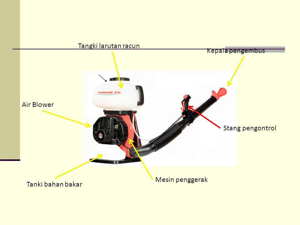 Tangki larutan racun Kepala pengembus Air Blower Stang pengontrol Mesin penggerak Tanki bahan bakar
